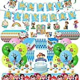 [ Perfect Party Decoration ]: If your child likes the Cocomelon Show, then I'm sure this party gift is enough to excite him. [ Value Pack ]: 1pcs Big Happy Birthday Banner, 6pcs Hanging Swirls Decorations, 1pcs Big Cake Topper, 24pcs Small Cake Toppe...