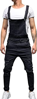 semen Mens Denim Overalls Fashion Ripped Bib Jeans Slim Fittted Jumpsuit with Pockets