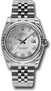 Rolex Oyster Perpetual Datejust 36mm Stainless Steel Case, 18K White Gold Fluted Bezel, Silver Concentric Circle Dial, Arabic Numeral and Jubilee Bracelet.