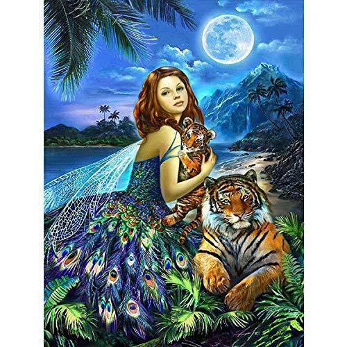Puzzles para Adultos,Los Rompecabezas De Madera 1000 Piezas para Adultos  Fantasía Series Girl Y Tiger Bajo La Luna DIY Diversión Rompecabezas Juguetes,500 Piezas/52×38Cm