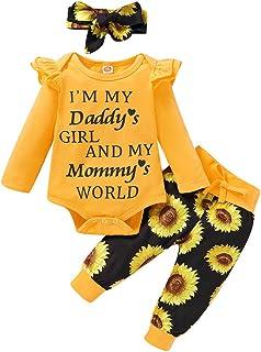Geagodelia Babykleidung Set Baby Mädchen Kleidung Outfit Langarm Body Strampler  Hose  Stirnband/Mütze Neugeborene Weiche Babyset T-19829