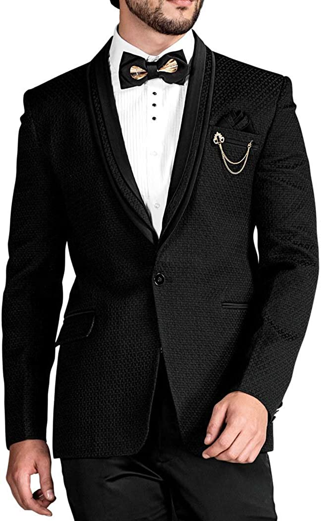 INMONARCH Mens Black 6 Pc Tuxedo Triple Layered Shawl Collar TX1695