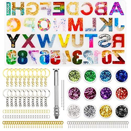 Stampi per Resina Lettere, 236pcs Stampi Silicone per Resina Epossidica Lettere, Fai-da-Te Numero di Lettere Stampi in Resina per Collana Pendente Braccialetto