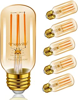 Emotionlite LED Light Bulbs, E26 Dimmable Vintage Edison Tubular Bulb, 40W Equivalent, Amber Yellowish, 4W, 2200K, 300LM, Medium Base, UL Listed, 6 Pack
