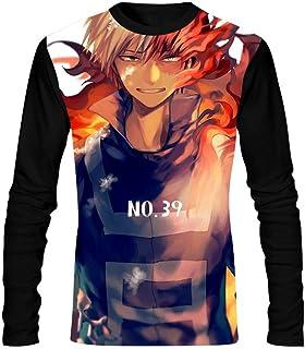 My Hero A-CA-demia Fire Mens T-Shirts Long Sleeve Tees Fashion Comfortable Tops