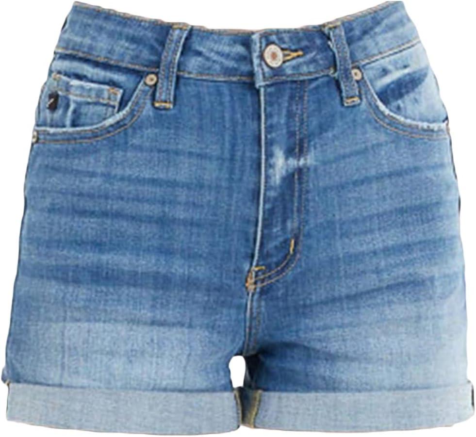 Womens Cuffed Straight Denim Shorts Classic Casual Rolled Hem Stretch Jean Shorts Summer Folded Washed Short Jeans (Blue,Medium)