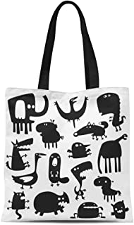 Semtomn Cotton Canvas Tote Bag Character Collection of Cartoon Funny Animals Silhouettes Black Cat Reusable Shoulder Grocery Shopping Bags Handbag Printed