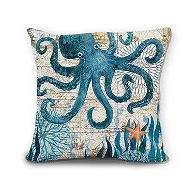 wendana Ocean Theme Cute Octopus Linen Pillow Covers Decorative 18 x 18 Throw Pillows Pillow Case for Couch