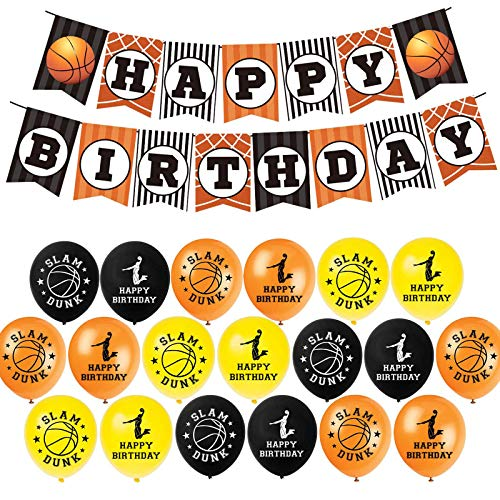 Basketball Birthday Decorations, Happy Birthday Banner 44pcs DIY Cake Topper Latex Balloons Best Gifts for Boy Kids Birthday Party Supplies