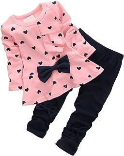 CHIC-Fille Enfant Ensemble en 2 PCS T-Shirt Longues Manches + Pantalons Blouse Tee Blouse Motif Cœur Noeud Papillon