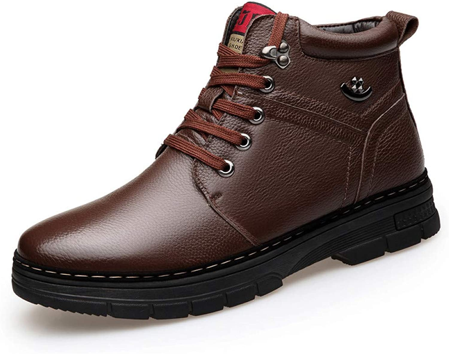 FHCGMX Mens Boots Winter Lace Up Style Leather Snow shoes Ankle Keep Warm Male Boots