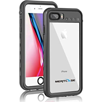 Merit 防水ケース 防水カバー 衝撃吸収 防雪 防塵 耐衝撃 IP68防水レベル 指紋認証対応 スタンド機能 リング付き iPhone8 plus iPhone7plus ブラック