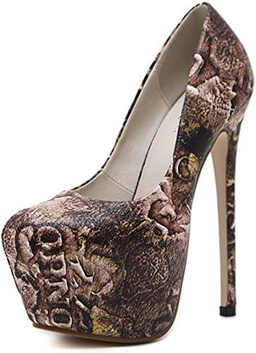 MNII Wohommes talons hauts impression Ladies Pointed Toe Chaussures Bridal Party Pumps- Chaussures de mode