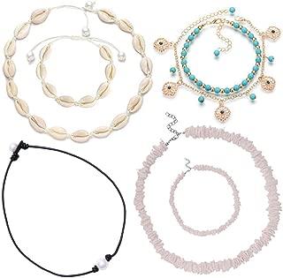 Shell Necklace, Puka Shell Necklace, Seashell Necklace, Cowrie Shell Necklace Set Incl. 2 Shell Necklace Choker, 1 Single Pearl Necklace Choker, 2 Shell Bracelet, 2 Bohemian Anklet