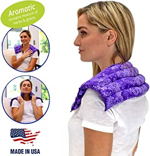 Nature Creation Heating pad for Neck and Shoulders | Microwave Heating pad | Natural hot Packs for Pain Relief with Aromatherapy for Stress Relief | Upper Back Pain Relief - Purple Flowers, Scented