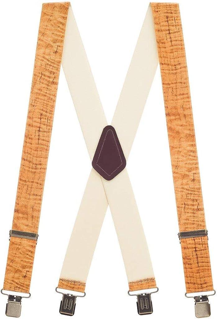SuspenderStore Men's Maple Woodgrain Tradesman Clip-End Novelty Suspenders