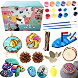 painting cones - Avrsol Rock Painting Kit - DIY Kids Wood Arts & Craft Toys w/River Stones, Acrylic Paints, Pine Cones, Wood Slices, Sailboat, Wood Spinning Tops, Twigs, Egg, Easel, Leaves