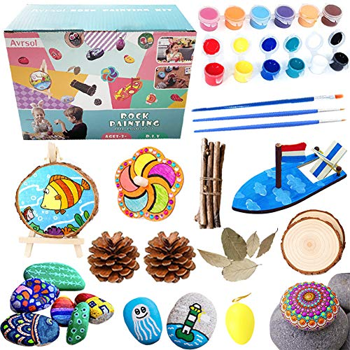 Avrsol Rock Painting Kit for Kids, Painting DIY Kit Gifts, Includes Rocks, 18 Acrylic Paint Tubes...