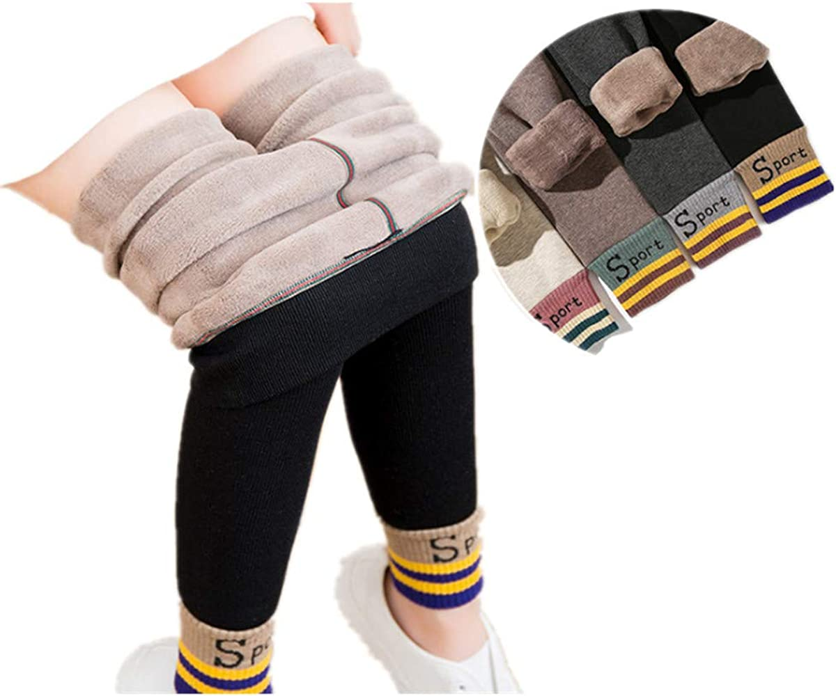 Genuine 3-12 Years Girls Winter Warm Fleece Thick Leggings Ve Lined Kids Bargain sale