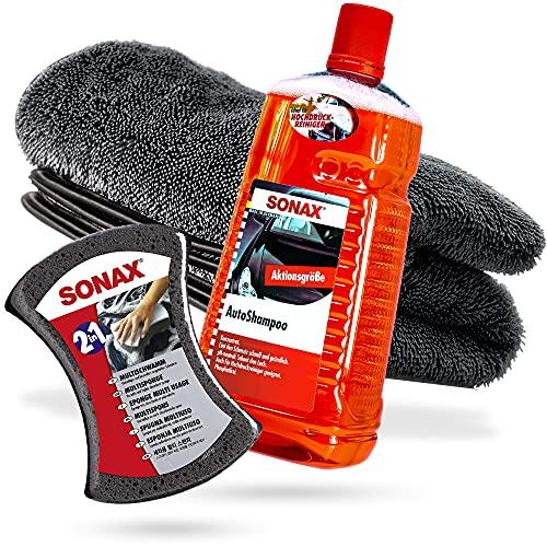 detailmate Juego de lavado profesional para coche, cubo de lavado US 5 GAL de 20 l, para coche, moto, caravana, barco, lavado a mano suave (1 champú + 1 esponja + 1 paño seco)