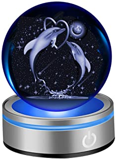 """IFOLAINA 3D Dolphin Crystal Ball 80mm 3.15"""" Laser Engraved Porpoise Model Decoration Ball Anniversary Paperweight in Home and Office Gift for Birthday Kids Teens Lovers Parents"""