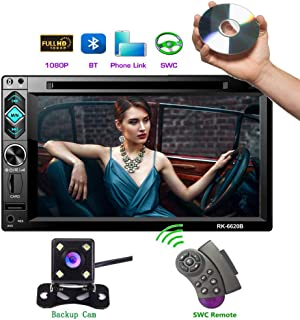 Hikity Double Din Car Stereo DVD Player 6.2 Inch High-definition Touch Screen Radio Bluetooth FM Radio Receiver with CD/USB/AUX-in/SD card Port Support Android Phone Mirror Link + Backup Camera & Stee