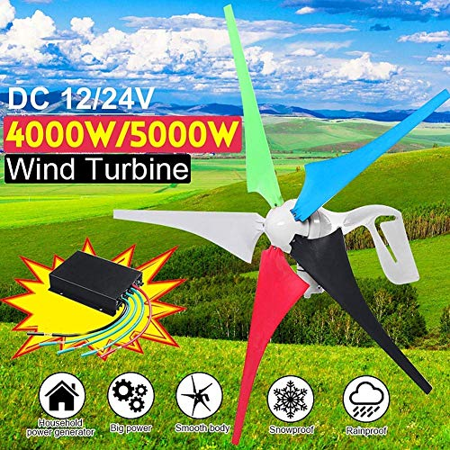 LWQ 5000W / 4000W Wind Turbine-Generator, 5 Blatt Wind-Controller, 24V Haushaltsstromversorgung Montagezubehör,5000w,24V