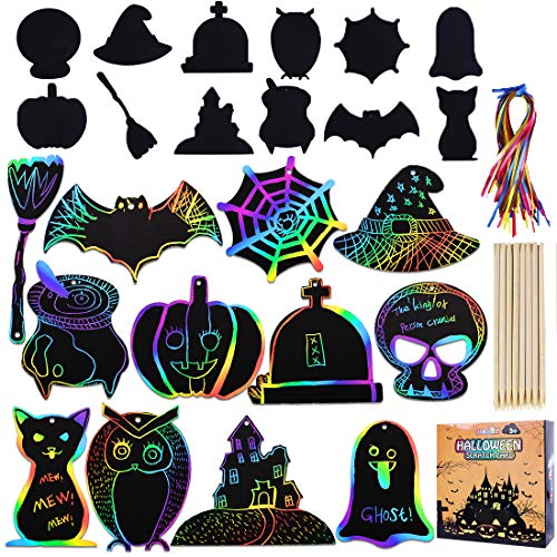 Max Fun Rainbow Color Scratch Halloween Ornaments(96 Counts) - Magic Scratch Off Cards Paper Hanging Art Craft Educational Toys Kit with 48 pcs Wooden Stylus & 96 Cords for Halloween Party Supplies