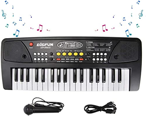 divine man Mini Toy Keyboard Musical Instruments Child Electric Keyboard Piano Toy with Mini Microphone for 6 Years Old Girls Boys 37 Keys Multi Function Electric Keyboards for Kids