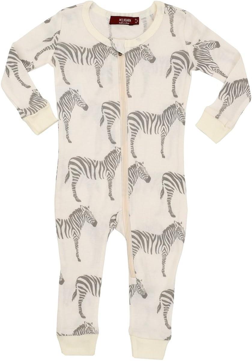 MilkBarn Organic Cotton Zipper Pajama - Grey Zebra