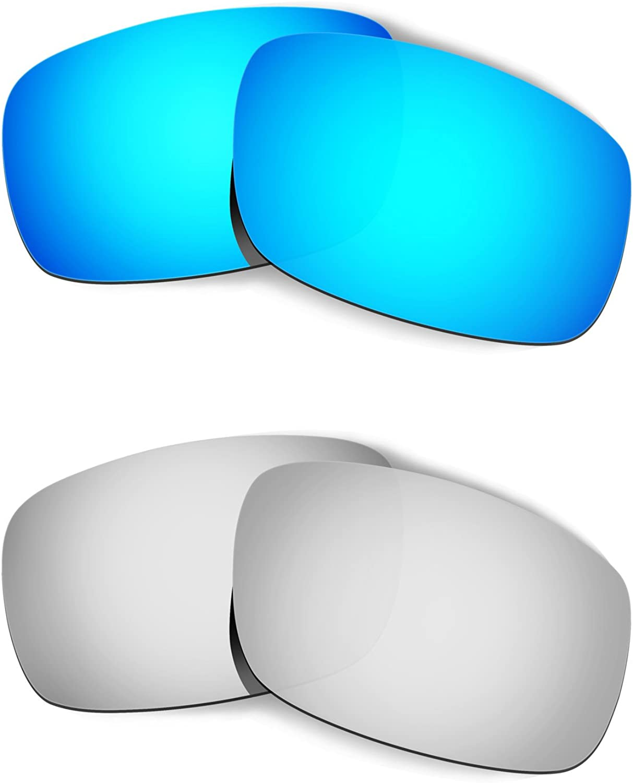 HKUCO Mens Replacement Lenses For Oakley Crankshaft Sunglasses Blue/Titanium