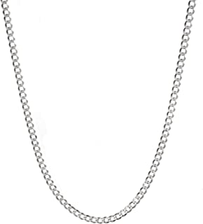 White Gold Plated 3mm 4mm Solid Sterling Silver .925 Cuban Curb Link Chain Necklace