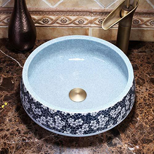 Jgophu Lavabo artesanal estilo europeo chino, lavabo artístico, encimera de trabajo, color azul y blanco grieta