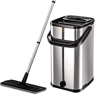 Squeeze Flat Floor Mop and Bucket Set, Stainless Steel Bucket and Handle, 2 Washable..