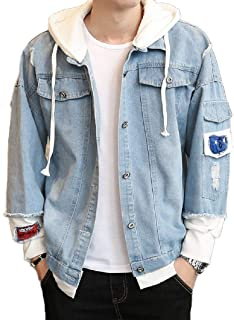 neveraway Mens Classic Patches Big Tall Distressed Rugged Trucker Jacket