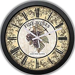 Grape Clock - Fine-Wines Wall Clock Non-Ticking - Vintage Clock - Silent Wall Clock - Rustic Clock - 10 Decorative Wall Clock Battery Operated - Contemporary Creative Wall Clock Round for Bedroom