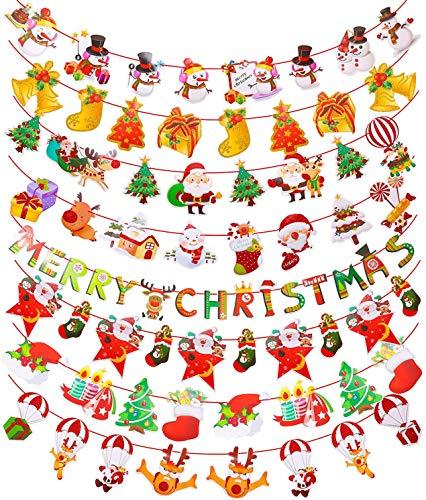 Killow 8 Stück Weihnachten Girlande Banner Hängende Papiergirlande Merry Christmas Papier Santa Banner Weihnachtsmann Wimpelkette Schneemann Weihnachten Cartoon Deko