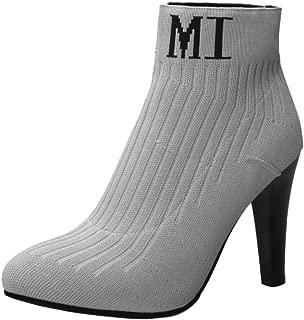FANIMILA Women Fashion Sock Booties Winter Shoes Pull on