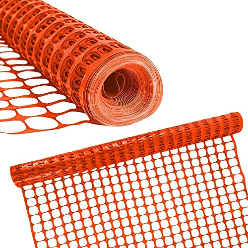 Houseables Plastic Mesh Fence, Construction Barrier Netting, Orange, 4'x100' Feet, 1 Roll, Garden Fencing, Fences Wrap, Above Ground, for Snow, Poultry, Chicken, Safety, Deer, Patio, Garden Netting