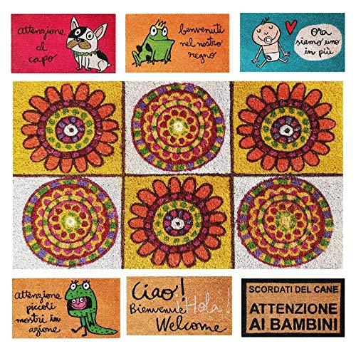 Parpyon® Felpudo para entrada de casa divertido Vulcano 40 x 70 cm alfombra antideslizante entrada escalón para interior de exterior alfombras modernas de coco (Mosaico)