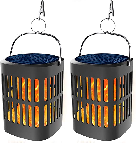 Bebrant Solar Lanterns Lights Flickering Dancing Flames Hanging Lanterns Solar Powered And USB Charging Flame Lights Outdoor Waterproof Decoration Lighting Dusk To Dawn Auto On Off 2 Pack