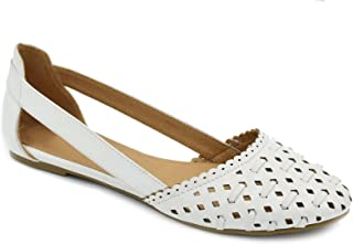 Greatonu Womens Shoes Cut Out Closed Toe Ballets Flats