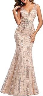 Ever-Pretty Sirena Vestido de Fiesta Mujer Largo Lentejuelas Escote en V Vestido de Gala Elegant 00777