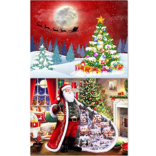 FANTESI 2 Pcs Christmas Diamond Painting Kits for Adults Santa Claus Christmas Tree5D Paint with Diamonds DIY Kits Christmas Tree Painting 16' x 12'