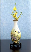 Bits and Pieces - 3D Yellow Bird Vase Puzzle - 160 Plastic Pieces No Glue Required - Insert Makes Vase Fully Functional