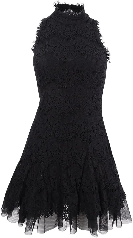 Betsy & Adam  229 Womens New 1027 Black Lace Sleeveless Fit + Flare Dress 4 B+B