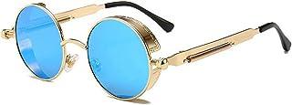 VisionsIndia Retro Vintage UV400 Unisex Round Sunglasses (Blue)