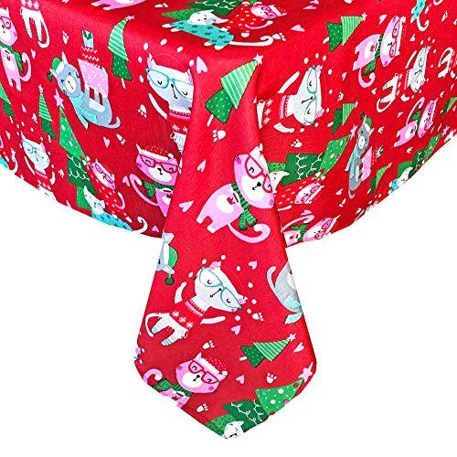 Newbridge - Mantel de tela navideña para gatos, diseño de gatitos navideños con sombreros y bufandas para las día festivo, no...