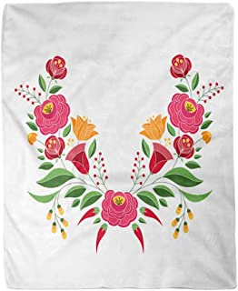 rouihot 60x80 Inches Flannel Throw Blanket Hungarian Folk Pattern Kalocsa Floral Ethnic Slavic Eastern European Home Decorative Warm Cozy Soft Blanket for Couch Sofa Bed