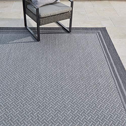 Gertmenian Tropical Collection Outdoor Rug Patio Area Carpet, 9x13 X Large, Border Silver Gray